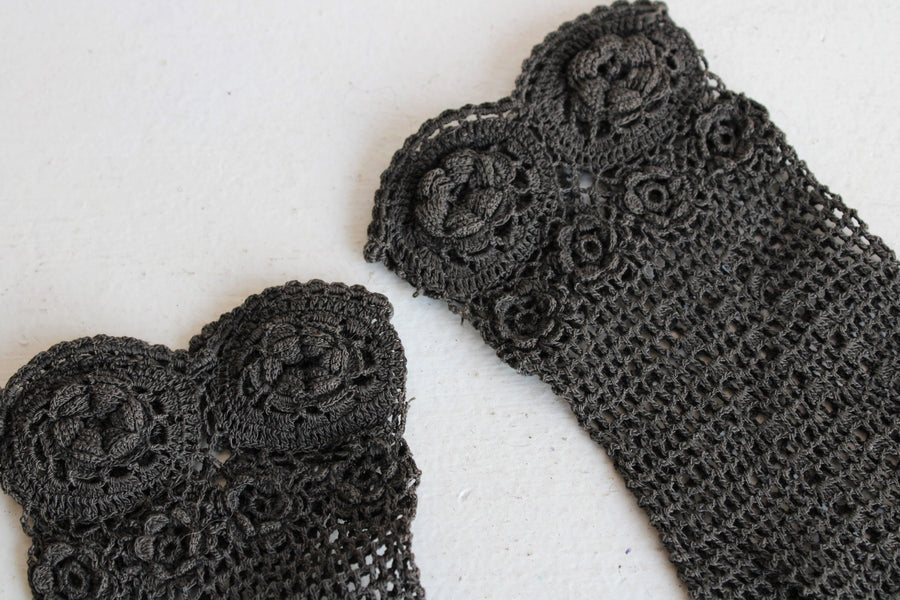 Victorian Black Crochet Gloves