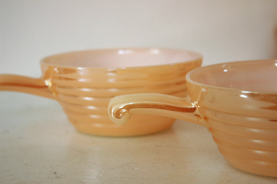 Vintage 1950s Fire King Peach Lusterware Bowls