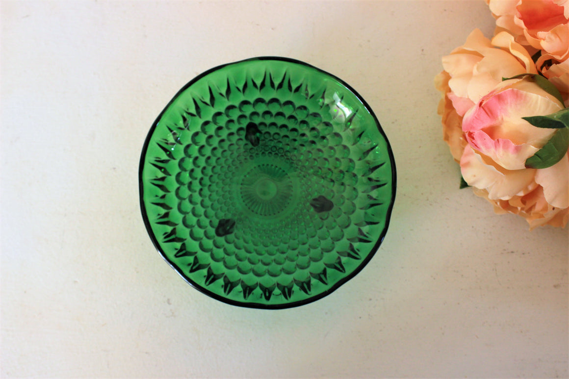 Vintage Green Glass Candy Bowl