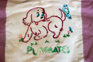Vintage 1950s Puppy Dog Embroidered Set