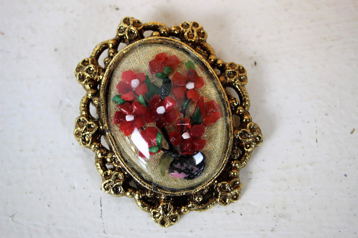 Vintage Antiqued Gold Tone Wreath with Floral Spray Brooch
