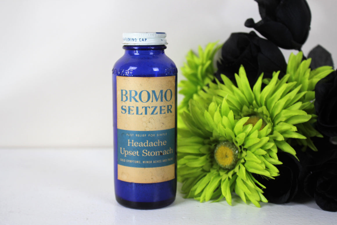 Vintage Cobalt Blue Glass Bottle of Bromo Seltzer With Label And Lid