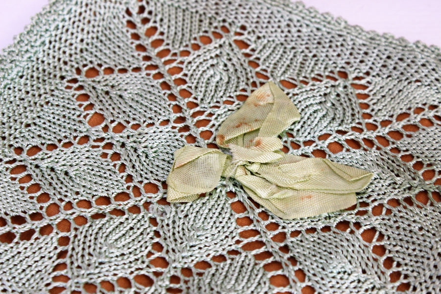 Vintage 1920s 1930s Handkerchief Bag / Mint Green