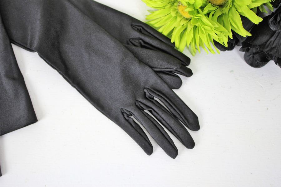 Vintage 1960s Black Satin Gloves by Gant Neyret, Made in France, Size 7