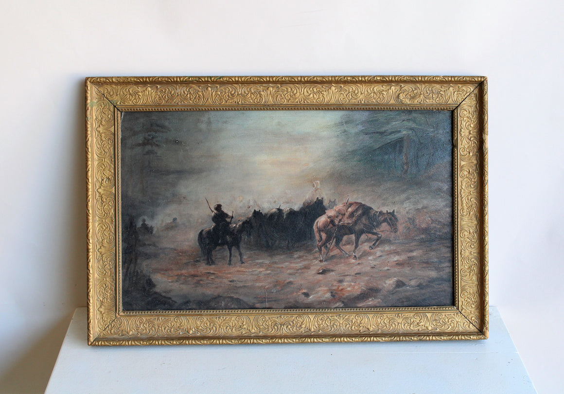 Vintage Framed Oil Painting on Pressed Wood, Nomadic Horse Art Print