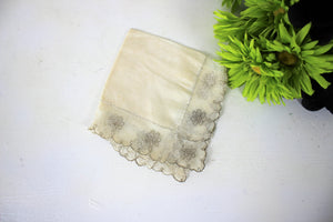 Vintage Ivory Cotton and Silver Embroidered Lace Hanky