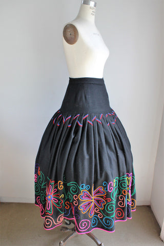 Vintage 1940s 1950s Black Wool Mexican Circle Skirt