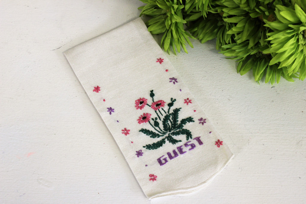 Vintage 1960s White Linen Tea Towel For Guests