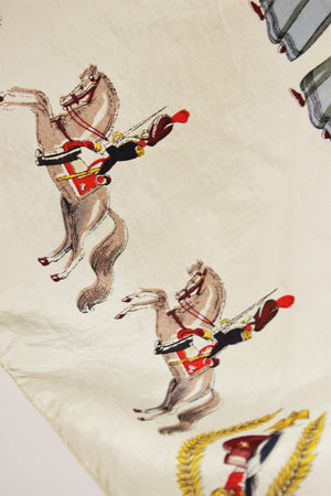 Vintage 1940s Silk Scarf,  People and Horses Novelty Print
