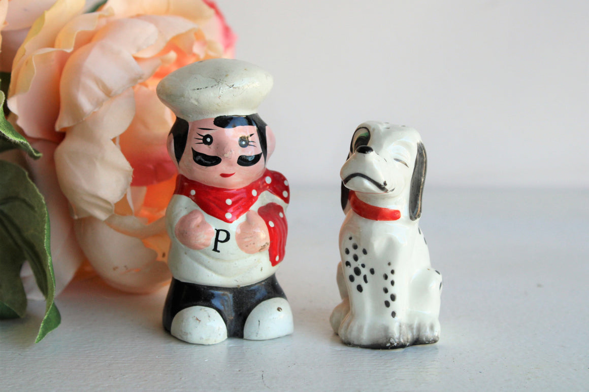 Vintage Chef and Dalmatian Salt and Pepper Shakers