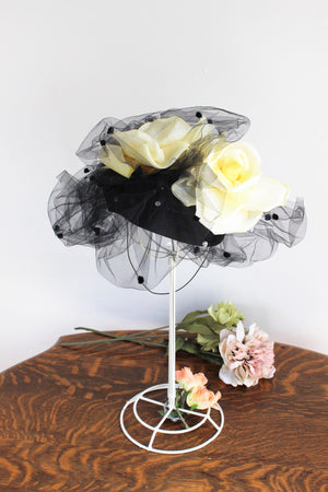 Vintage 1980s Black Straw Fascinator Hat With Birdcage Veil Silk Flowers