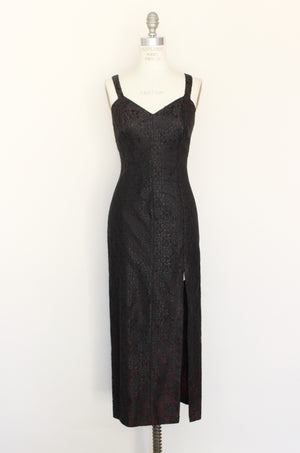 Vintage 1980s Black Lace Vamp Dress