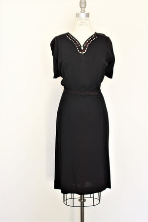 Vintage 1940s 1950s Black Dress With Belt and Jacket