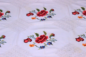 Vintage 1950s 1960s Cotton Tablecloth With Cross Stitched Flowers
