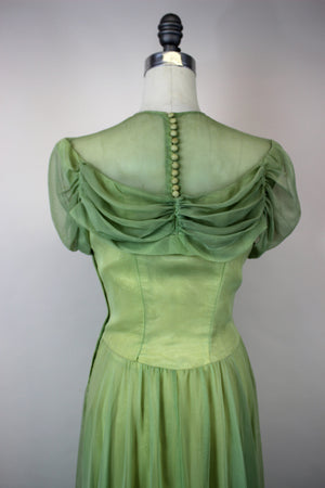 Vintage 1940s Green Tulle Party Gown