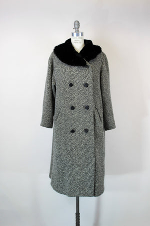Vintage Bergdorf Goodman Black and White Tweed Wool Overcoat With Faux Fur Collar