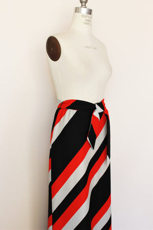 Vintage 1960s Diagonal Stripe Maxi Skirt With Belt