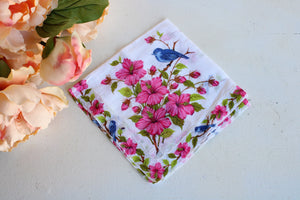 Vintage Cotton Handkerchief With A Pink Flowers and Blue Birds Print