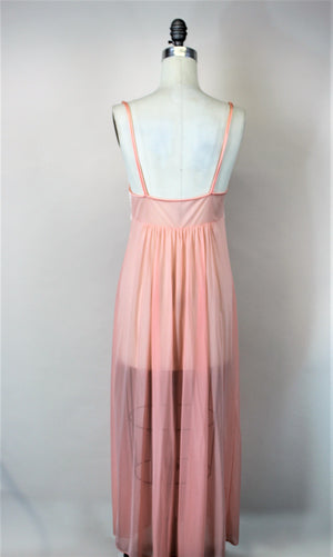 Vintage 1970s 1980s JC Penneys Pink Nylon Nightgown