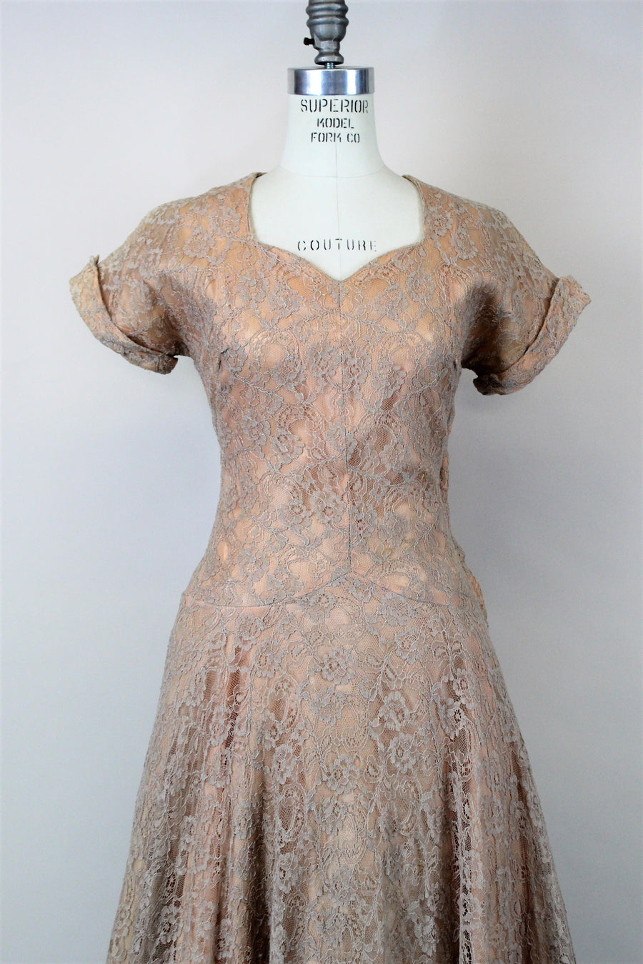 d7886562583 Vintage 1950s Blush Illusion Lace Fit And Flare Dress
