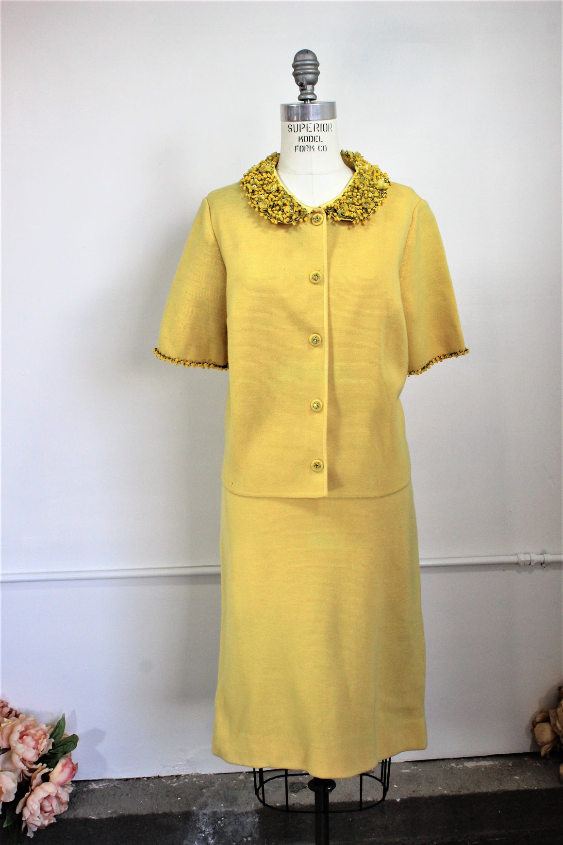 CLEARANCE: Vintage 1960s Yellow Knit Suit With Beaded Collar