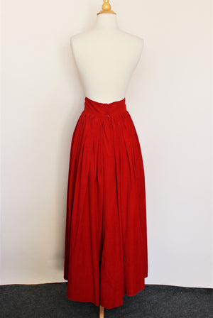 Vintage 1940s Does 1900s Red Corduroy Skirt