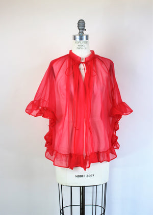 Vintage 1960s Red Peignoir Bed Jacket by Gaymode