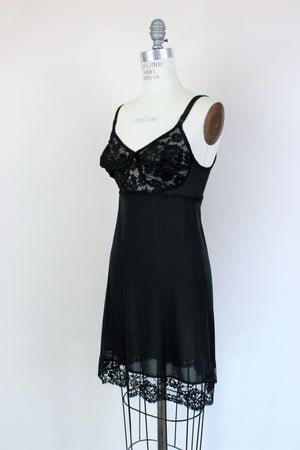 Vintage 1960s Black Full Slip With Bra Bodice by Warners
