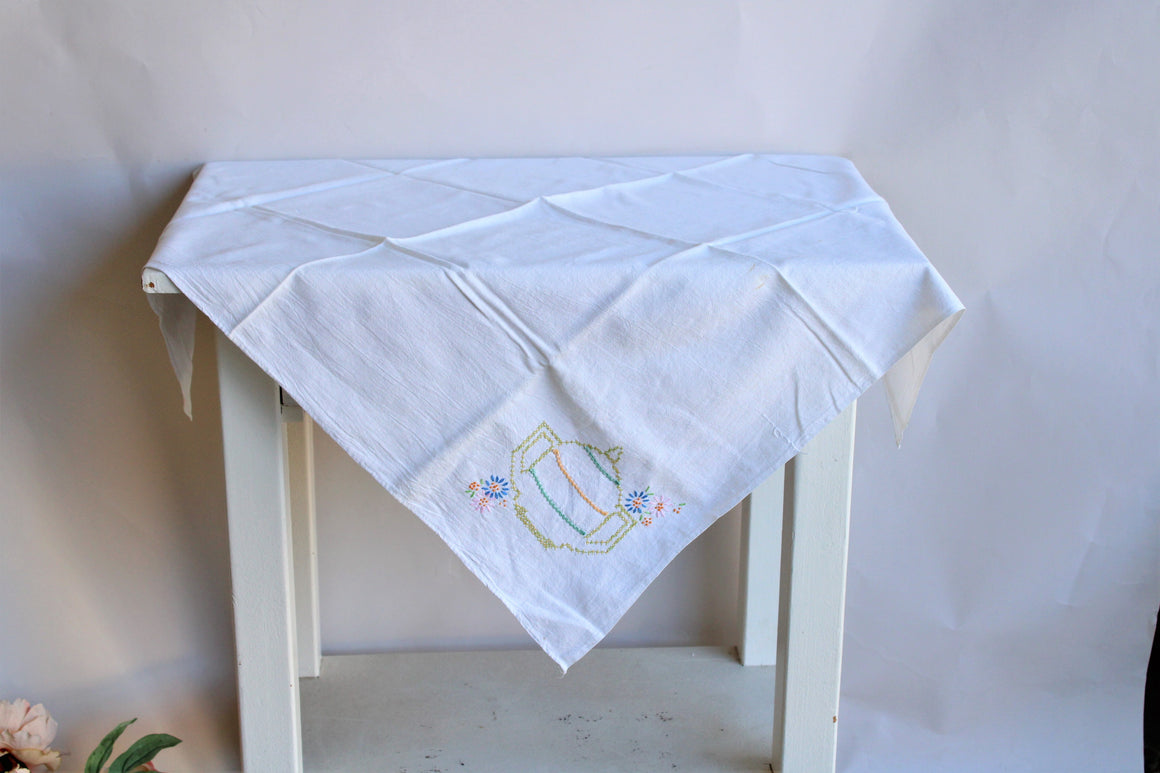 Vintage 1950s Feedsack Tablecloth with Teapot Cross-stitch