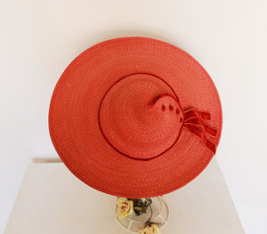 Vintage 1950s Wide Brimmed Red Straw Hat