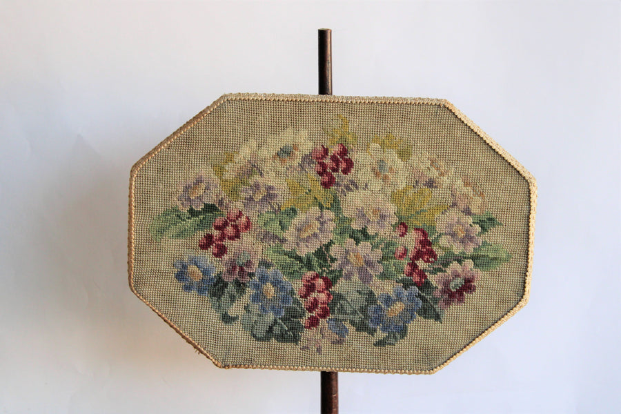 Antique Victorian Needlepoint Fire Screen