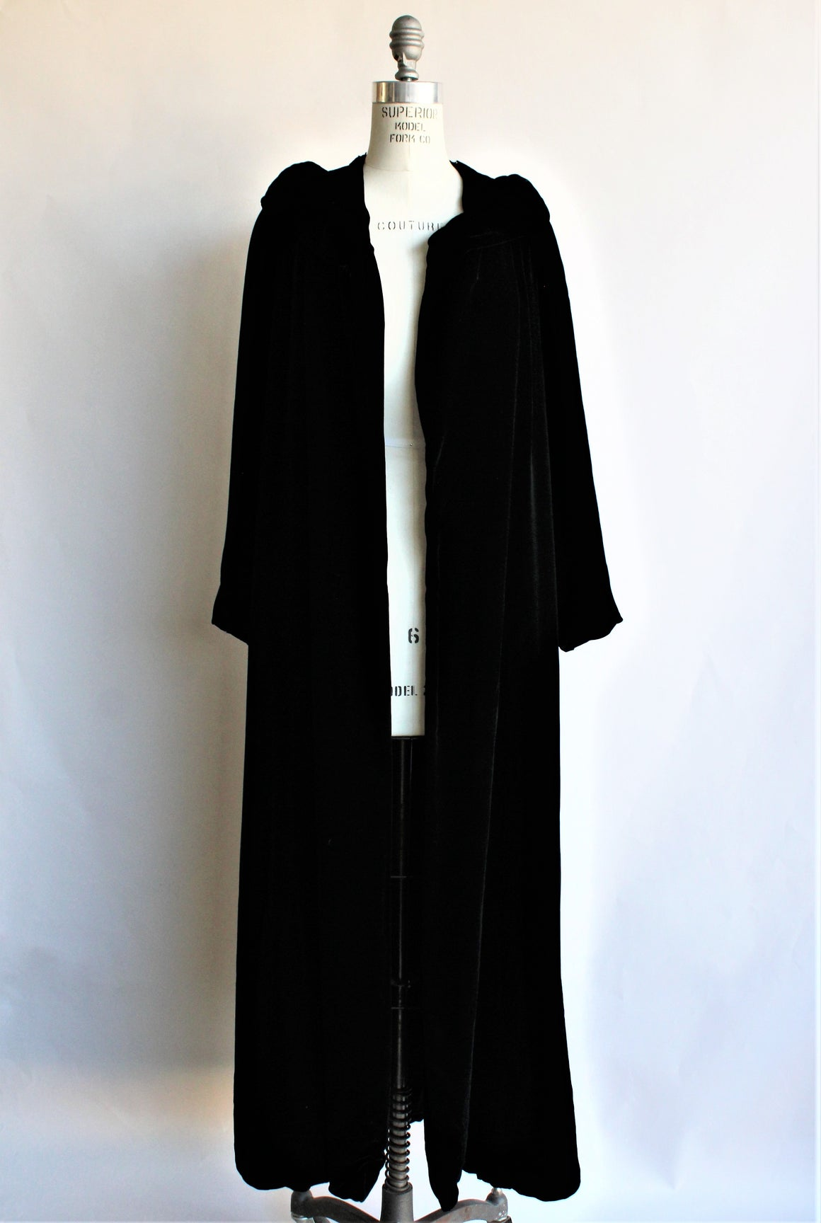 Vintage 1940s 1950s Black Velvet Opera Coat, Bergdorf Goodman New York