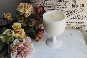Handmade Soy Wax Candle in a Vintage Milk Glass Goblet