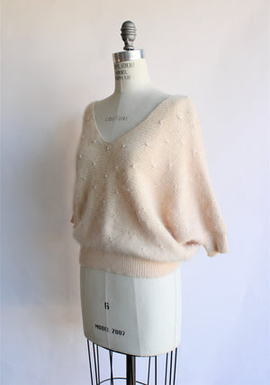 Vintage 1990s Angora Sweater with Pearls
