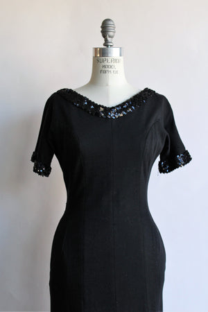 Vintage 1950s 1960s Black Wiggle Dress with Pockets and Sequin Trim