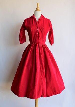 Vintage 1950s Red Corduroy Fit and Flare Dress by Mari Lou