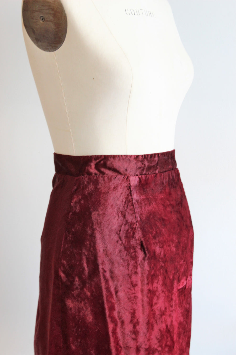 Vintage 1990s Red Velvet Mini Skirt / Rampage