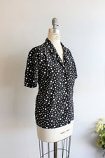 Vintage Polkadot 70s Black and White Blouse