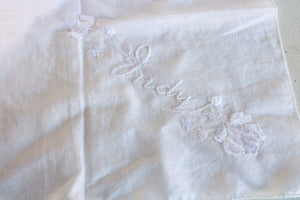 Vintage Embroidered Hanky, Monogrammed with Judy