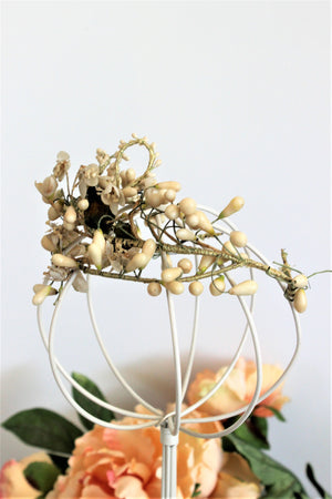 Vintage 1910s 1920s Bridal Crown With Wax Flowers