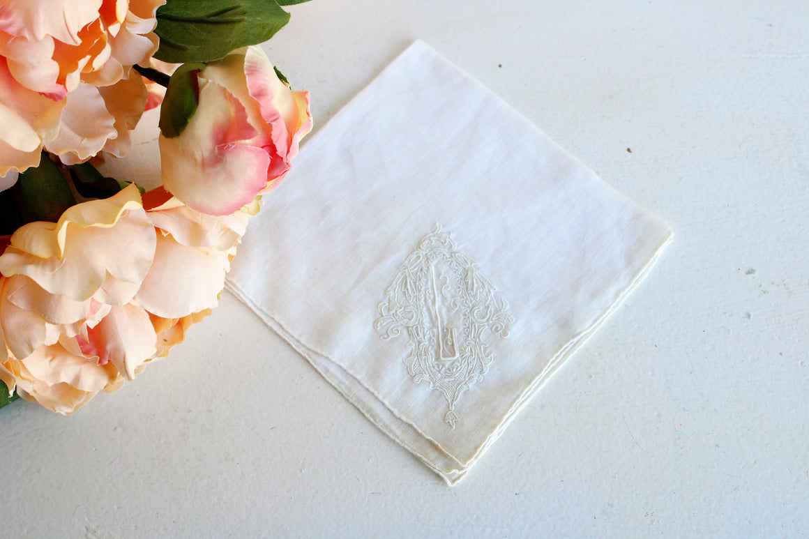 Vintage Linen Hank Embroidered with L