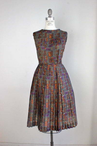 Vintage 1950s Fit and Flare Pleated Dress, Tucker and Grossman