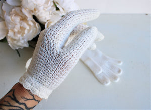 Vintage 1960s Winter White Knit Or Crochet Gloves