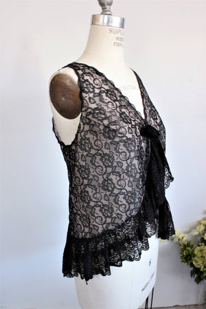 1950s Vintage Black Lace Bed Jacket