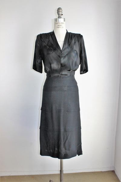 Vintage 1940s Black Rayon Dress With Shoulder Pads