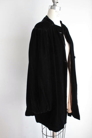 Vintage 1940s Black Velvet, Gold Silk Lined Opera Coat