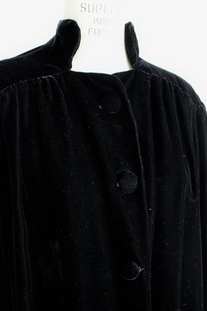 Vintage 1940s Black Velvet Opera Coat with Gold Silk Lining