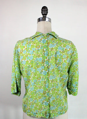 Vintage 1960s Floral Blouse by Melray