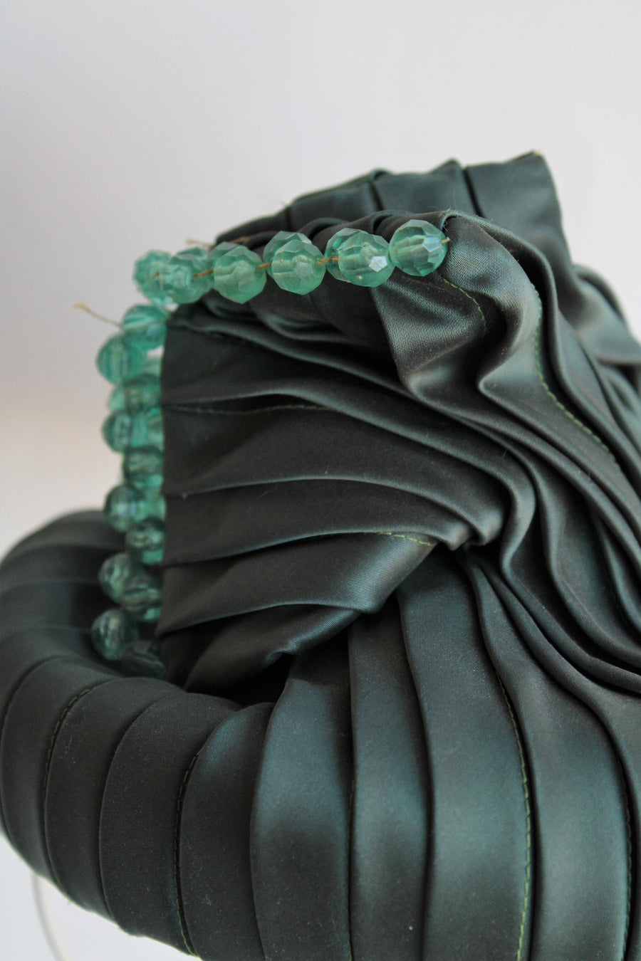 1940s Green Pleated Hat by D Charles