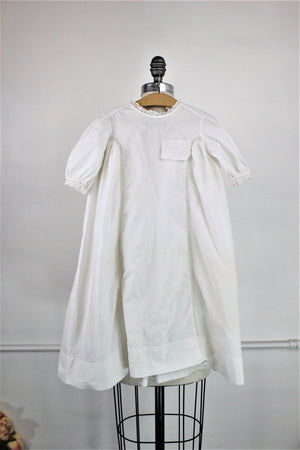 Vintage 1910s 1920s Babys White Cotton Christening Dress
